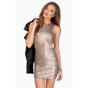 TOBI Rose Gold Sequin Cut Out Party Mini Dress